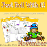 Math and Literacy Center: Just Roll With It: November-editable