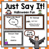Just Say It!  Halloween Party Task Cards