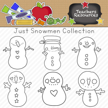 Just Snowmen Clipart Collection || Commercial Use Allowed
