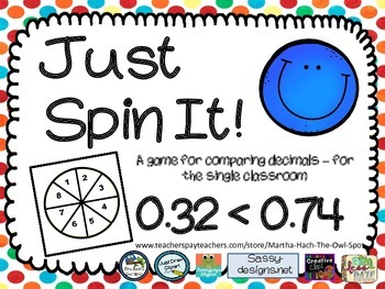 Just Spin It!  Comparing Decimals Partner Game
