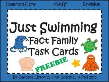 Just Swimming Fact Family Task Cards Common Core MAFS Envision FREEBIE