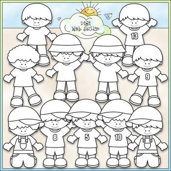 Just The Boys Clip Art - Kids Clip Art - CU Clip Art & B&W