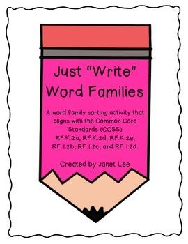 Just 'Write' Word Family Sort - Set 1