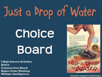 Just a Drop of Water Choice Board Novel Study Activities Menu Book Project
