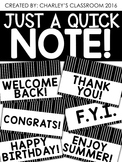Just a Quick Note   Black & White Note Cards