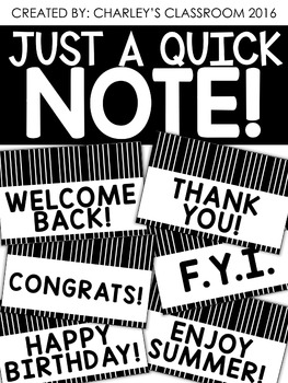 Just a Quick Note | Black & White Note Cards