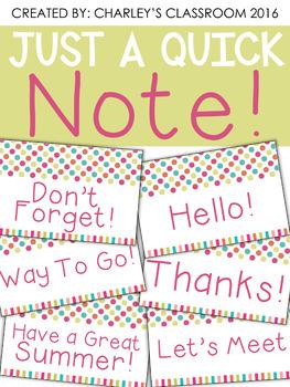 Just a Quick Note | Fun in the Sun