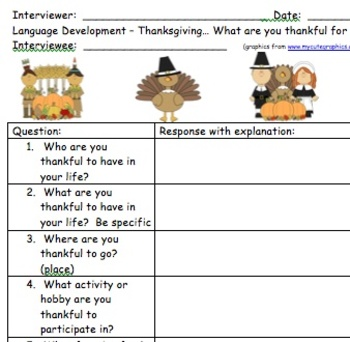 Just In Time For Thanksgiving!! Interview Questions FREEBIE!