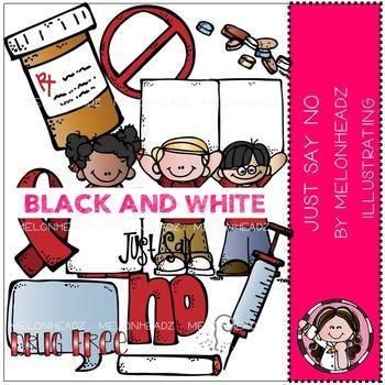 Melonheadz: Just say no clip art - BLACK AND WHITE