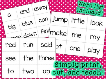 Just the Basics - PRE-PRIMER DOLCH Sight Word Cards and Word List