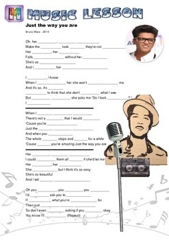 Just the Way You Are Song Worksheet