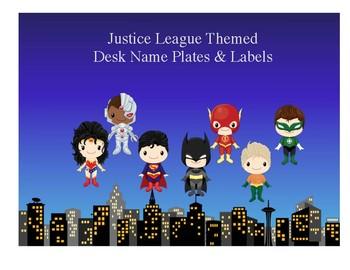 Justice League Themed Desk Name Plates & Labels