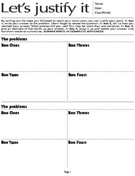 Justify It Worksheet - Writing answers to math questions