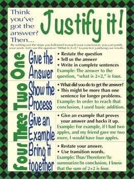 Justify It - Write the answer to math questions, poster, PDF, printable