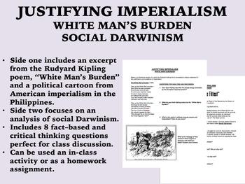 Justifying Imperialism - White Man's Burden/Social Darwinism - Global/US History