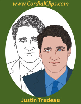 Justin Trudeau Realistic Clip Art in Color and Black and White Line