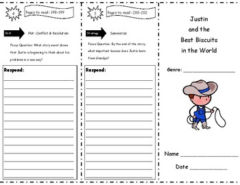 Justin And The Best Biscuits Storytown Comprehension Trifold Tpt
