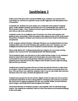 Justinian Biography Article and Assignment