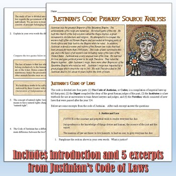 Justinian's Code Primary Source Analysis
