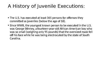 Juvenile Death Penalty Power Point