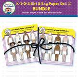K-1-2-3 Girl & Boy Paper Doll Clip Art BUNDLE