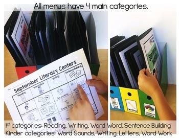K-1 COMBO September Literacy Centers