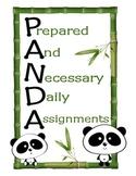 K-1 Classroom Start-Up Pack (PANDA Theme)