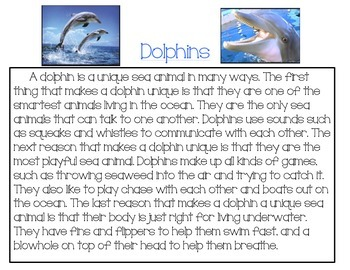 K-1 Close Reading: Dolphins