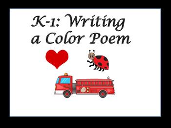 Kindergarten to First Grade Literacy Center: Color Poem