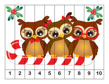 K-1 Counting Puzzles-Christmas-  1's, 2's, 5's, and 10's