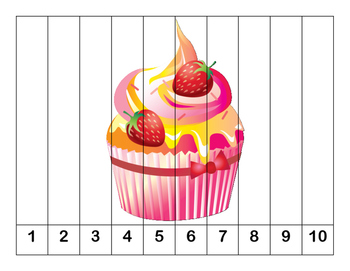 K-1 Counting Puzzles- Counting by 1's, 2's, 5's, and 10's Cupcake Theme