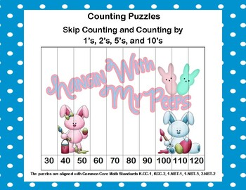 K-1 Counting Puzzles- Counting by 1's, 2's, 5's, and 10's-Easter Fun