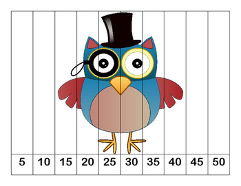 K-1 Counting Puzzles- Counting by 1's, 2's, 5's, and 10's-Funny Owls