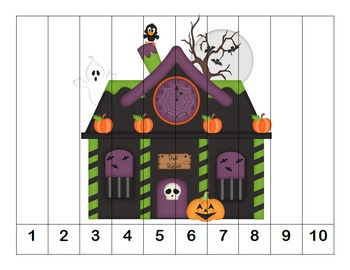 K-1 Counting Puzzles- Counting by 1's, 2's, 5's, and 10's-Halloween Theme