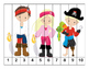 K-1 Counting Puzzles- Counting by 1's, 2's, 5's, and 10's-Pirate Theme