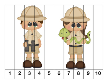 K-1 Counting Puzzles- Counting by 1's, 2's, 5's, and 10's-Safari Adventure Theme