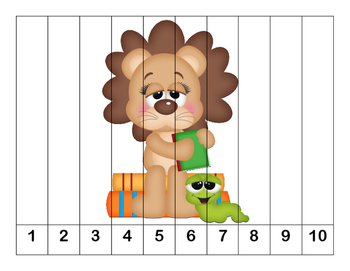 K-1 Counting Puzzles- Counting by 1's, 2's, 5's, and 10's-School Animals Theme