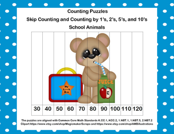 K-1 Counting Puzzles- Counting by 1's, 2's, 5's, and 10's-