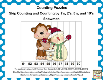 K-1 Counting Puzzles- Counting by 1's, 2's, 5's, and 10's-Snowmen