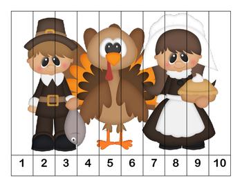 K-1 Counting Puzzles- Counting by 1's, 2's, 5's, and 10's-Thanksgiving Theme