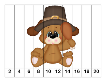 K-1 Counting Puzzles- Counting by 1's, 2's, 5's, and 10's-Thanksgiving Theme-2