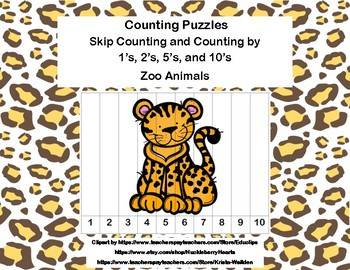 K-1 Counting Puzzles- Counting by 1's, 2's, 5's, and 10's-The Zoo