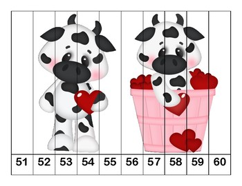 K-1 Counting Puzzles- Counting by 1's, 2's, 5's, and 10's-Valentine's Day Theme