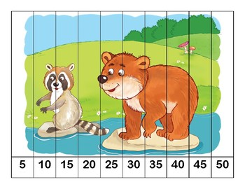 K-1 Counting Puzzles- Counting by 1's, 2's, 5's, and 10's-Woodland Animals