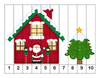 K-1 Counting Puzzles-More Christmas Fun -  1's, 2's, 5's, and 10's