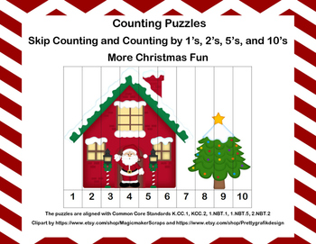K-1 Counting Puzzles-More Christmas Fun -  1's, 2's, 5's,