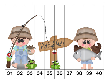 K-1 Counting Puzzles-Outdoor and Summer Fun- Counting by 1's, 2's, 5's, and 10's