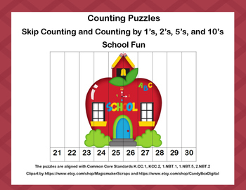 K-1 Counting Puzzles-School Fun  1's, 2's, 5's, and 10's