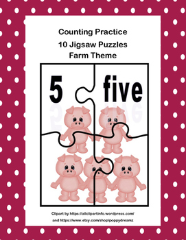 K-1 Counting and Pairing Numbers With Their name and Amount-CCSS-Farm Theme