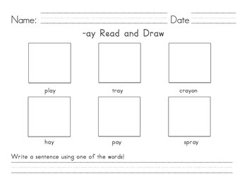 K-1 Decodable Read and Draw Worksheet